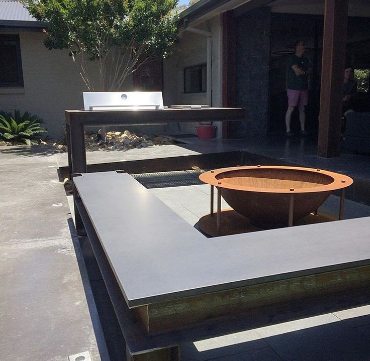Polished concrete outdoor seating and BBQ top by Mitchell Bink Concrete Design. www.mbconcretedesign.com.au