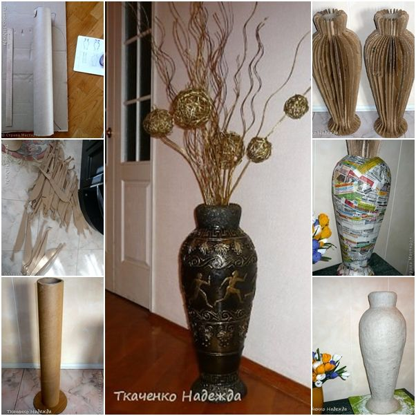 Diy Retro Floor Vase From Recycled Cardboard Floor Vase Decor