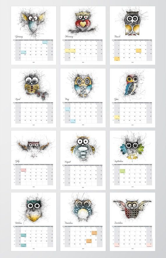 Letter owl calendar Calendar Calendar owl by JAnoveltyDeSign