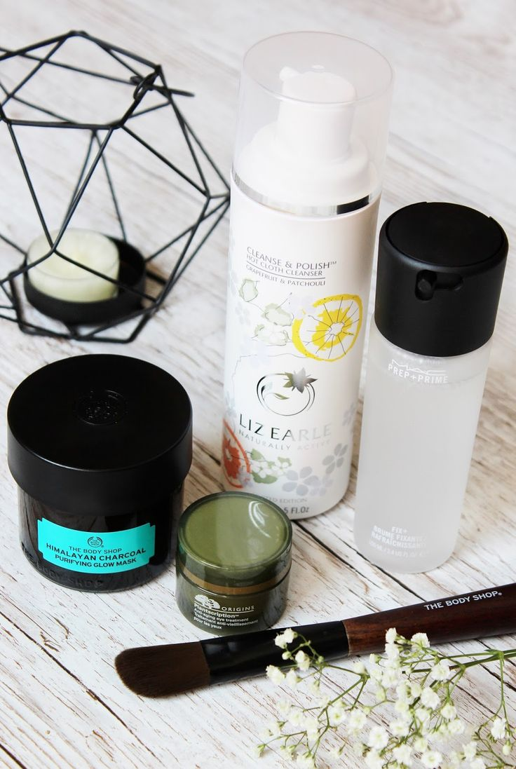 Favourite skincare | Liz Earle Cleanse and Polish Hot Cloth Cleanser | The Body Shop Himalayan Charcoal Face Mask | Origins Planscription anti-ageing eye cream | MAC Prep+Prime Fix+ Spray