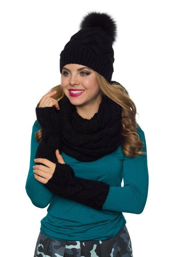 47ba9a1d6147a Womens hat scarf and glove set Pom pom hat Infinity scarf