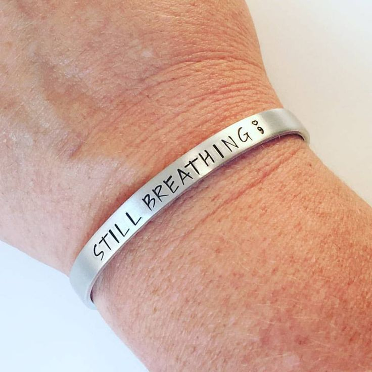 Still Breathing Semicolon Bracelet - Hand Stamped Semicolon - Semicolon Jewelry - Stamped Jewelry