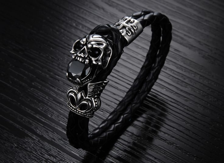 Genuine Leather Titanium Stainless Steel Skull Bracelet //Price: $14.69 & FREE Shipping //     #skull #skullinspiration #skullobsession #skulls