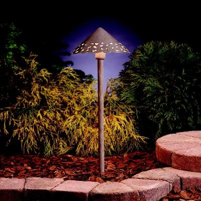 Looking for new ideas for path lights this hammered roof landscape light from kichler sheds a decorative pattern light onto the sidewalk or driveway