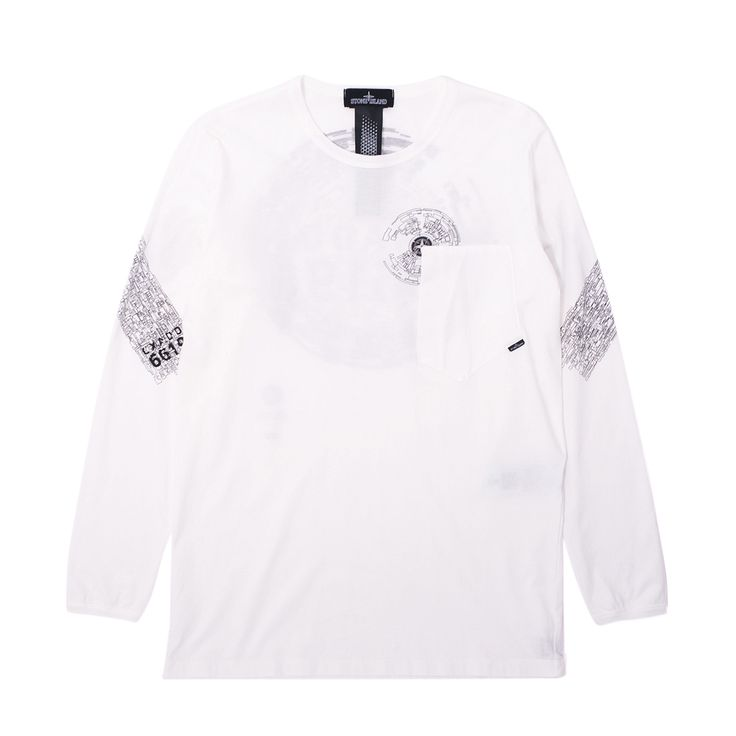 Premium cotton Stone Island Shadow Pocket Longsleeve T-Shirt. Made in Italy, it features lightweight premium cotton construction, multiple graphic print details throughout, single chest side entry drop-pocket, plus woven label at the side seam.