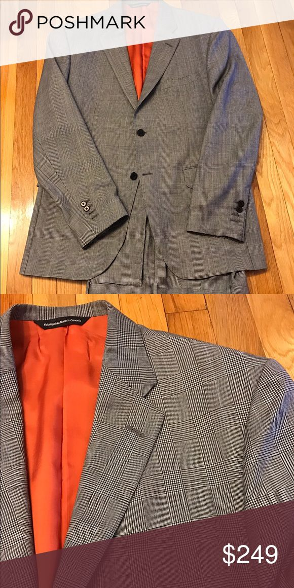Glenn Plaid Suit Beautiful Glenn Plaid (Classic Prince of Whales) suit with bright orange lining. Coppley Suits & Blazers Suits