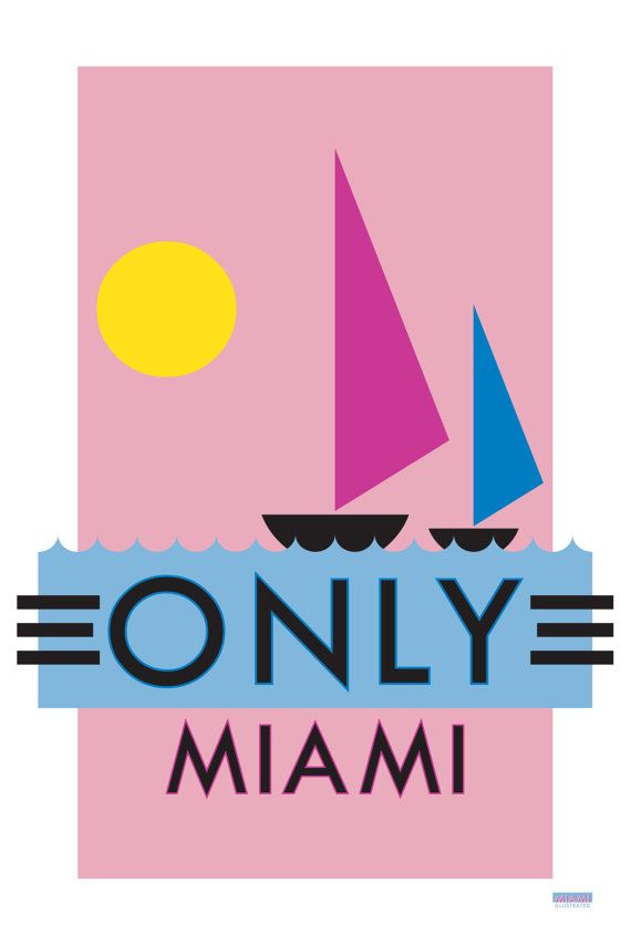 downstairs bathroom...ONLY MIAMI Limited edition print by Studioeighty on Etsy, $50.00