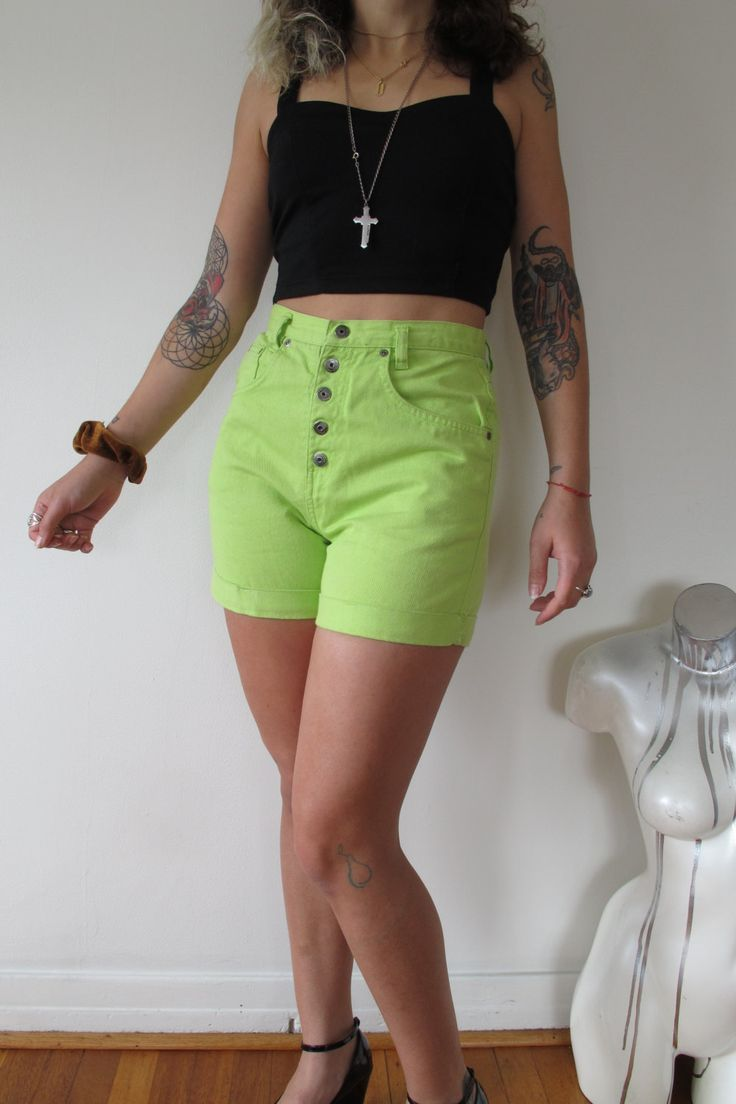 26 lime neon green jean shorts lime green shorts by shadyville