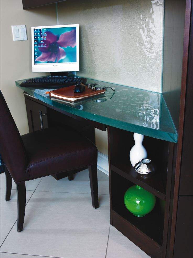18 best unique glass table tops images on pinterest glass table glass countertops and tabletop - Corner desk for small spaces concept ...
