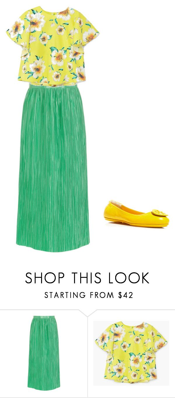 """""""MINT SKIRT"""" by explorer-14926259901 on Polyvore featuring TIBI, MANGO and Tory Burch"""