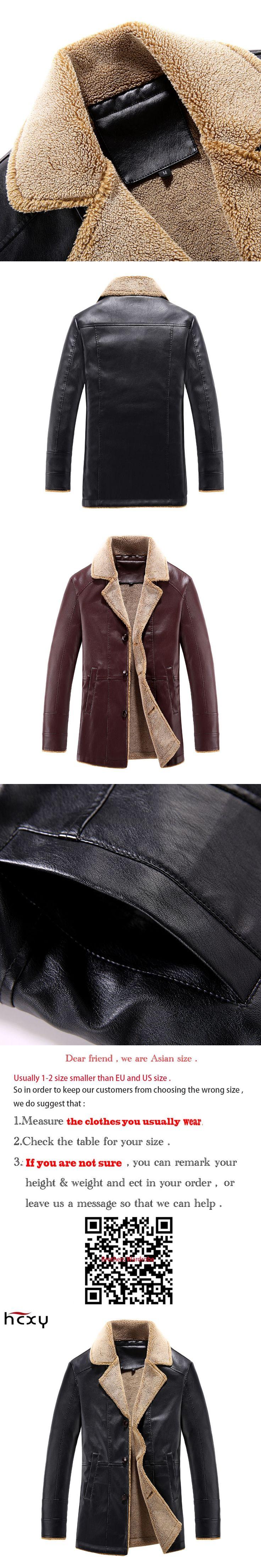 HCXY2017Men's parka winter thick PU jacket male Velvet Coat Lapel Leather Men's coat jaqueta masculino lnverno
