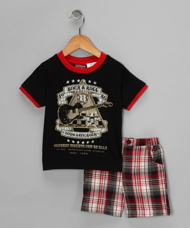 Take a look at this Black 'Rock & Roll' Tee & Shorts - Infant by Little Rebels on #zulily today!