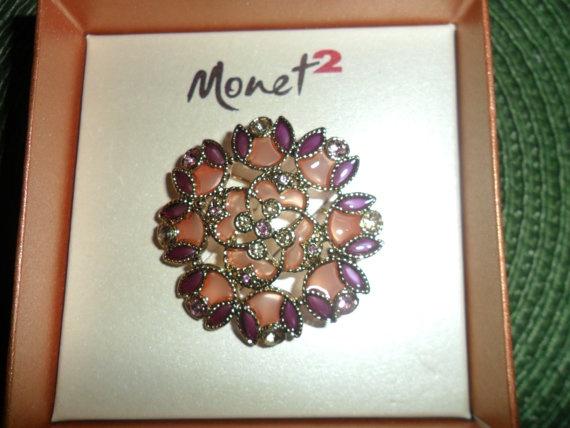 Vintage Monet 2 Light Pink and Mauve Brooch by PandBTreasures, $5.00