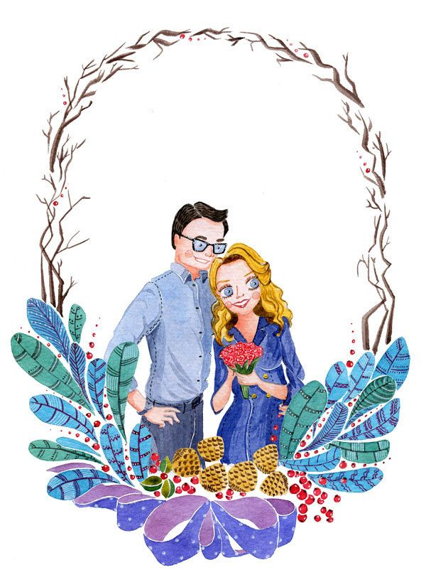 Custom Couples Portrait Gift For Him Or Her Wedding Engagement