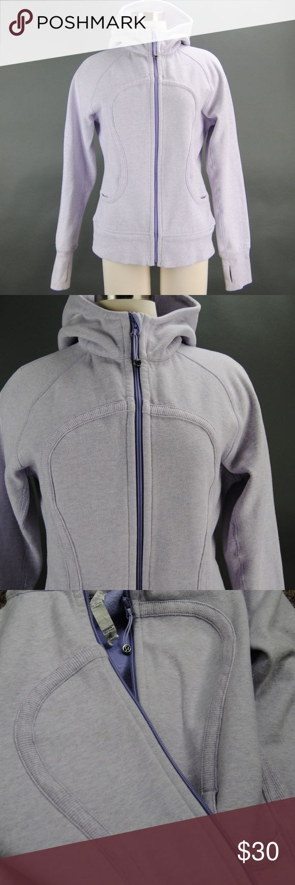 Lululemon Lavender Zip Up Hoodie Women's 10  (P15) Pre owned zip up hoodie by lululemon in lavender purple color has lightly normal peeling. Also has 2 coffee stains back and front, back one is a little bigger. might come out with stain remover please see pictures they are pretty fade. still nice zip up. size 10 lululemon athletica Jackets & Coats
