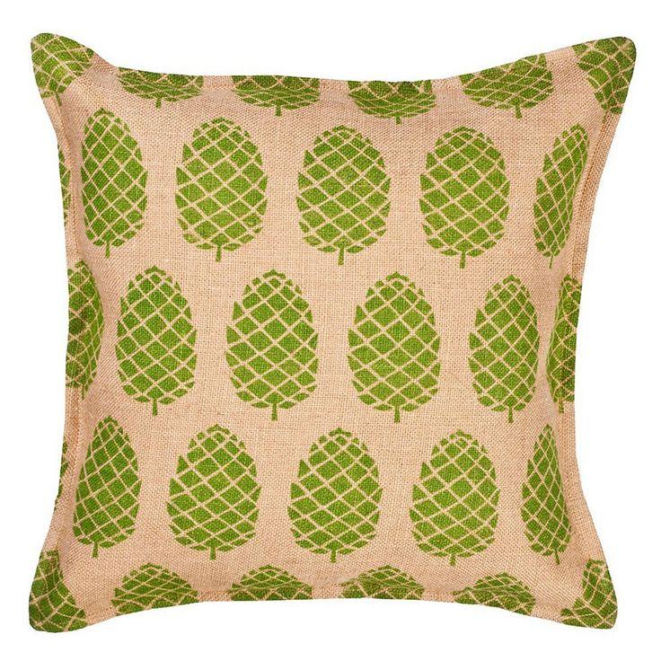 Greendale Home Fashions Pinecone Burlap Throw Pillow, Green