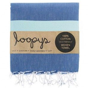 Mint and Denim Colour striped Turkish Beach Towel.  New this Summer.  Premium quality made by Loopys