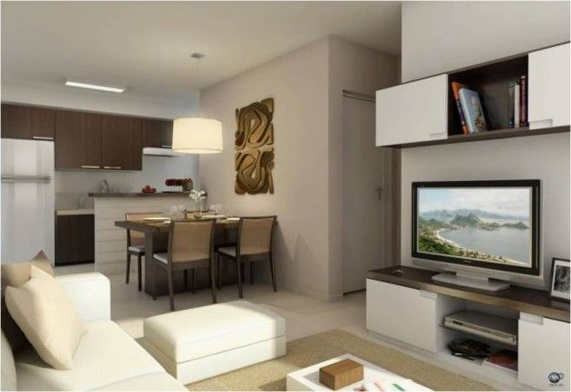 #474325 Conheça 15 Modelos de Decoração para Sala de TV Pequena para você se inspirar na hora de  630x433 píxeis em Ambiente Moderno Descolado Sala Estar Jantar