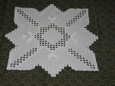 Exquisite Antique Hand Embroidery Hardanger Lace Star Shape Center Cloth Doily | eBay