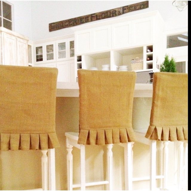BurlapBar Stool Covers with Kick Pleat