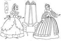 Примерка нарядов - скачать и распечатать раскраску. Раскраска Подготовка к балу, примерка платья, раскраска золушка, злые сестры золушки