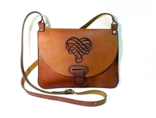HEART 25cm X 18cm CROSSBODY CLUTCH BAG Genuine leather, Laser cut, Hand stitched