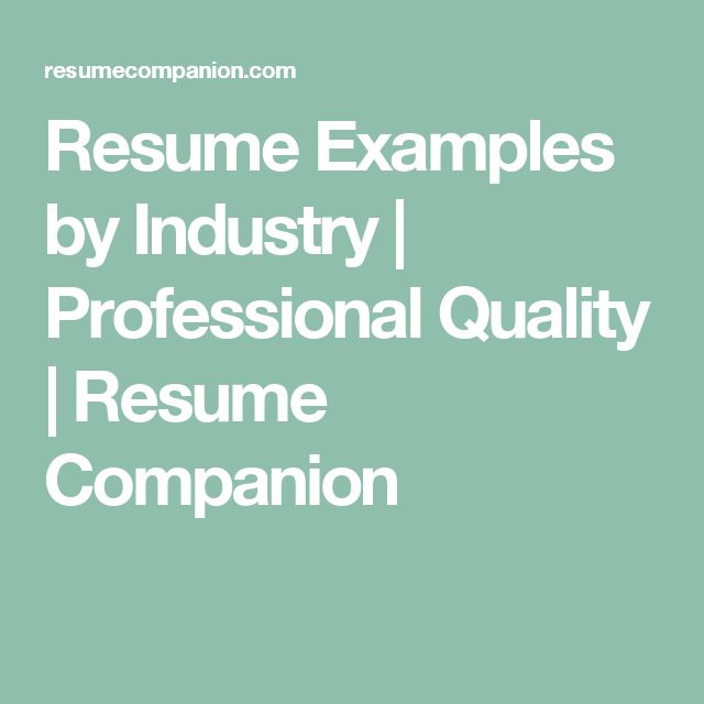 Resume Examples by Industry | Professional Quality | Resume Companion