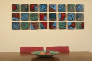 The Cosmic Collection by Josh Blanc. The separate pieces are glazed as a group, numbered, fired, then reassembled.