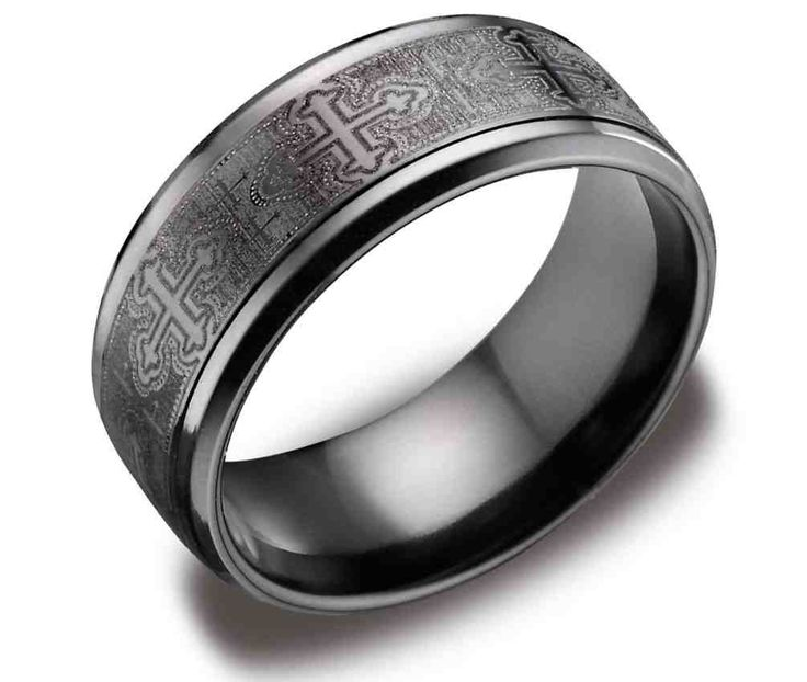 Men S Black Anium Comfort Fit Plain Wedding Band With Cathedral Crosses