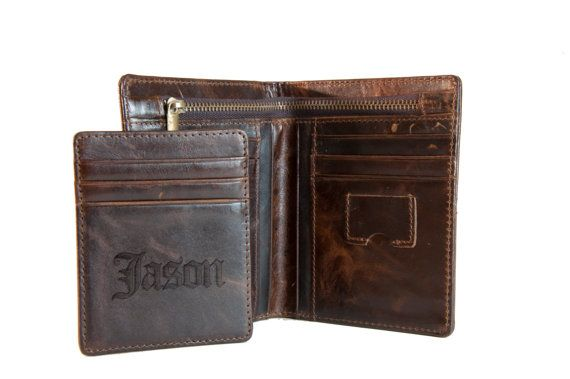 Mens Leather Wallet Personalized, - Gifts for Him, Groomsmen gift by Carved Accessories