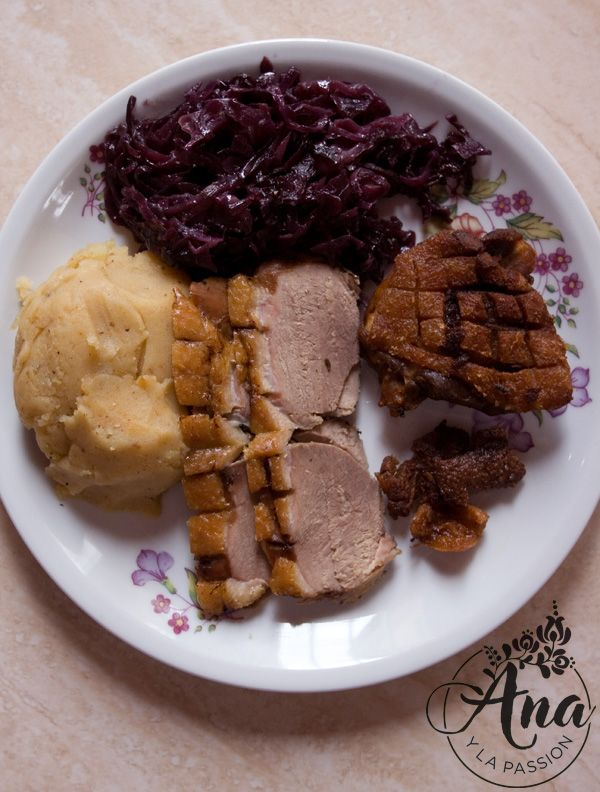 Roasted duck with smashed duck cracklings potato and steamed red cabbage by Ana y la passion happy St. Martin's Day