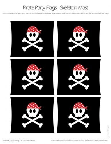 Pirate Party Flags – Skull and Cross Bones Mast-St…