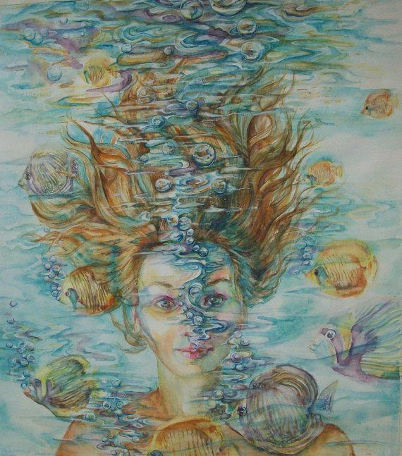 Un Sogno Surreale ritratto di donna sotto acqua di Stellangelo