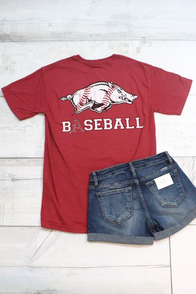 Show off your Arkansas Razorback spirit with this baseball hog tee! Features a baseball print inside the Razorback on the back. Chili red in color. Comfort Colors brand t-shirt. Unisex. Model is 5'9""