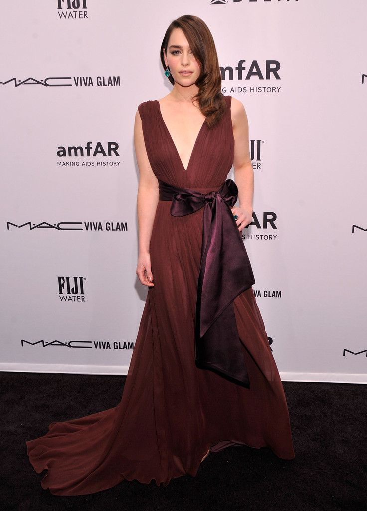 Actress Emilia Clarke attends the amfAR New York Gala to kick off Fall 2013 Fashion Week at Cipriani Wall Street on February 6, 2013 in New York City.