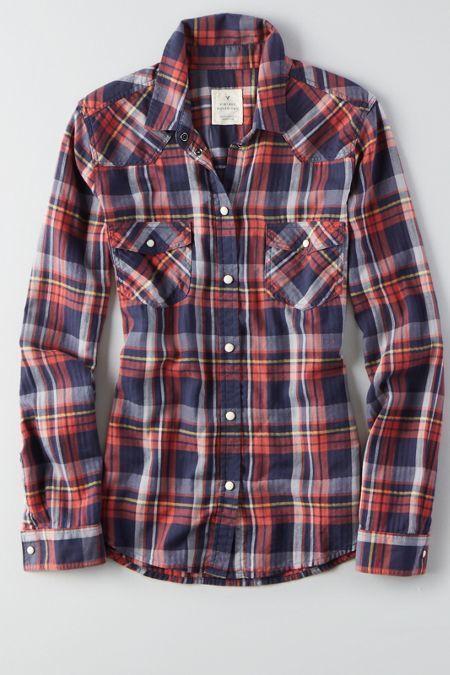 American Eagle Outfitters American Eagle Plaid Boyfriend Shirt, Women's, Size: M