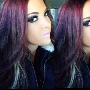 ♥purple and red with blonde peekaboo...I'm thinking black to purple with blonde peekaboo