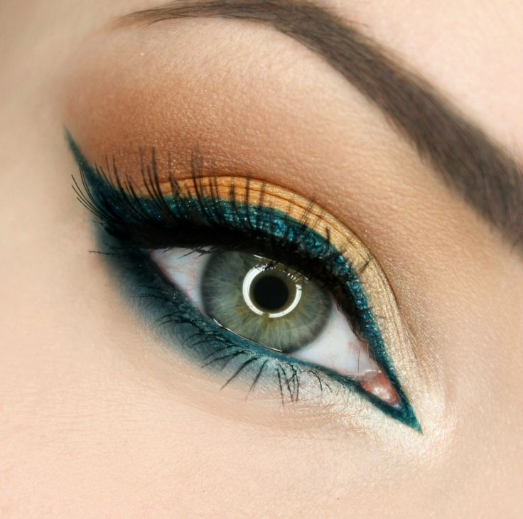 """Peacock's Love"" By Gajewska.wiktoria on Makeup Geek. dark green, orange, and gold eye makeup."