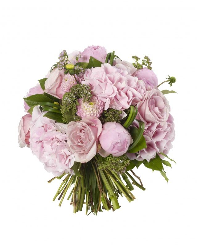 Soft Pink Summer Bouquet - Pink Verena Hydrangeas, Peonies, Diana's Memory Dahlias, Sweet Avalanche Roses and Origanum.