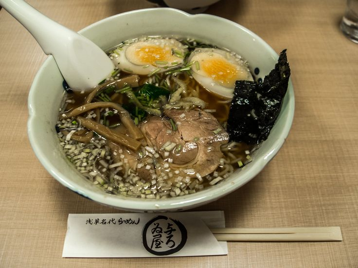 """Asakusa Yoroiya 6/7...featuring double-yolked eggs, yuzu (a citrus fruit and a staple ingredient in """"Yoroiya's"""" ramen), very finely cut Welsh onion and a double helping of men (i.e. noodles) guaranteed to fill you up in the most delightful way! #Asakusa, #ramen, #Yoroiya, #yuzu, #Welsh, #onion, #egg July 3, 2016 © Grigoris A. Miliaresis"""