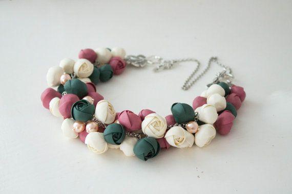 Flower Necklace, Wedding Necklace, Jewelry handmade, raspberry, ivory, dark green, Bib Necklaces