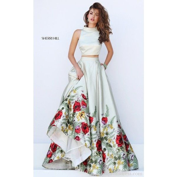 Sherri hill dress ❤ liked on Polyvore featuring dresses, floral prom dresses, sherri hill two piece, floral pattern dress, 2 piece dress and floral dresses