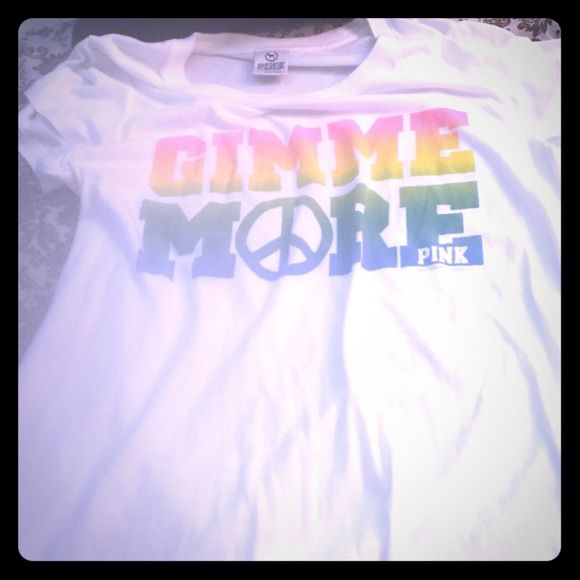 VS Pink Gimme More Rainbow Top L NWOT NWOT VS Pink Gimme More Top size L in rainbow logo with peace sign make me offers PINK Victoria's Secret Tops
