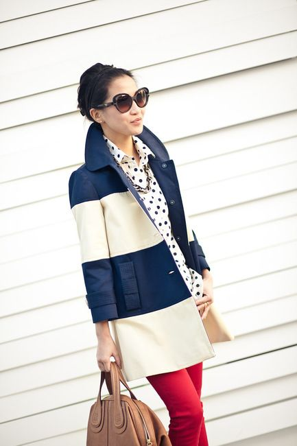 stripes + polka dotsStripes And Polka Dots Outfit, Dots And Stripes, Fashion Shoes, Stripes Coats, Spring Coats, Fashion Style, Red Jeans, Mixed Pattern, Kate Spade