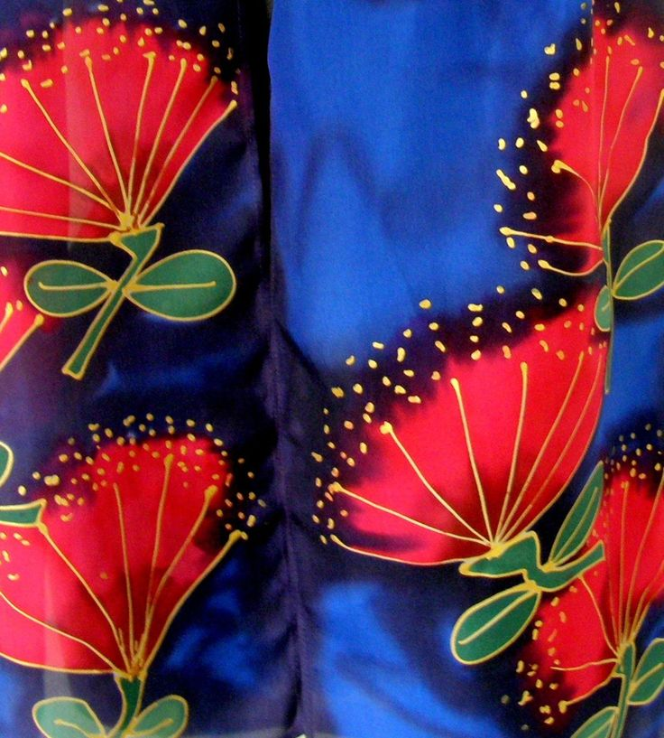 Pohutukawa New Zealand Icon Scarf. Pure Silk Hand Painted. A wonderful gift for Mothers Day.  See our MOTHERS DAY SALE www.satherleysilks.co.nz
