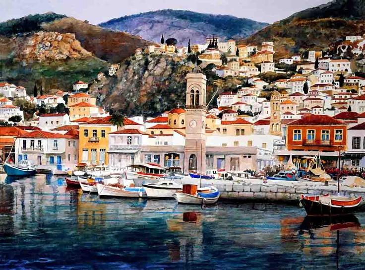 Painting of Hydra Town (Greek Island of Hydra).