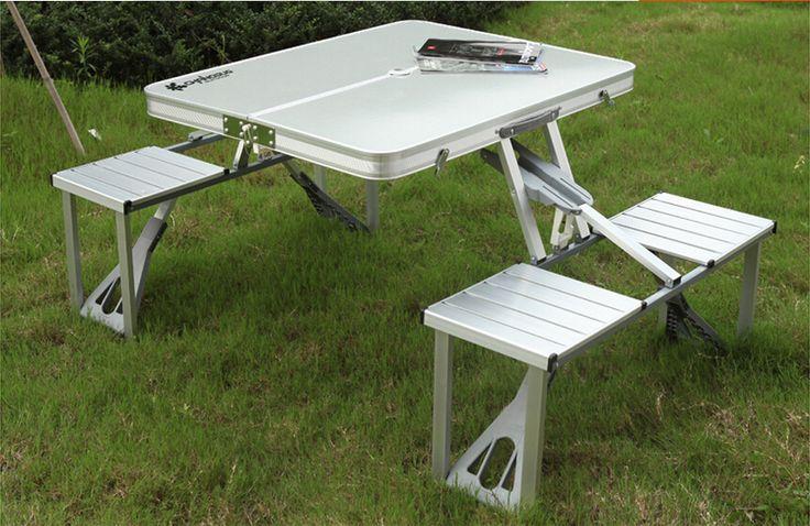 Портативный Алюминиевого сплава Открытый Сиамские складные столы и стулья Для дикий кемпинг развлечения песчаный пляж