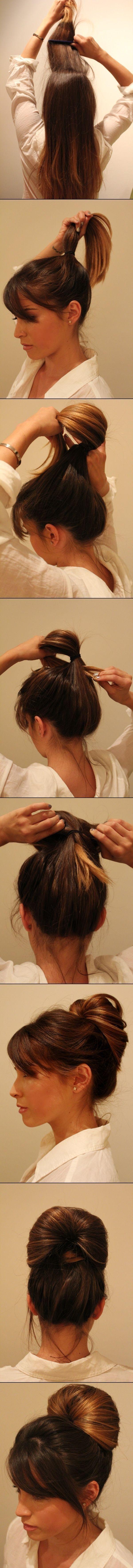 Easy bun! So much cuter than a ponytail. Love this!