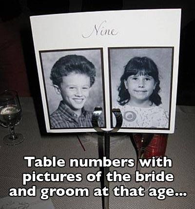 Table numbers with pictures of the bride and groom at that age... lol