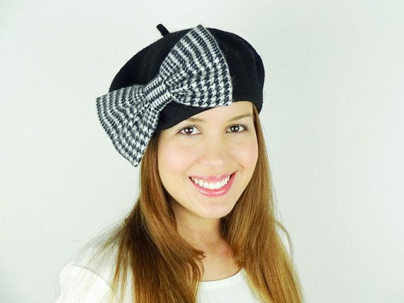 Black Beret Hat Women's Accessories White Houndstooth by JuicyBows